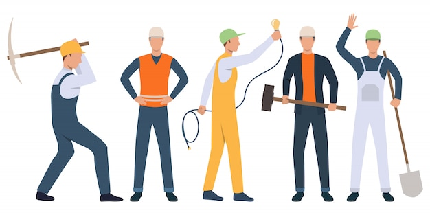 Set of builders, electrician and handymen working Free Vector