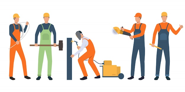 Set of builders, electrician, welder and handymen working Free Vector