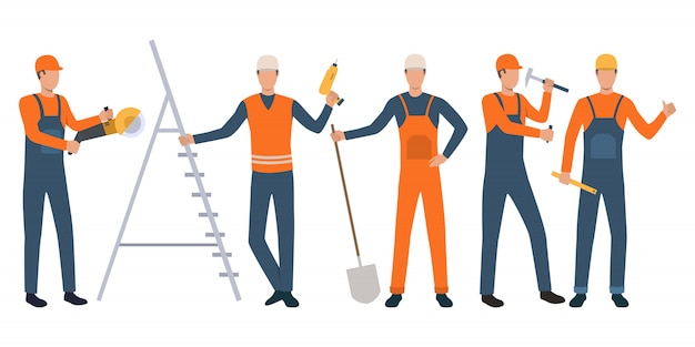 Set of builders and handymen standing, holding tools and working Free Vector
