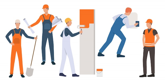Set of builders, painter, handyman and architect working Free Vector
