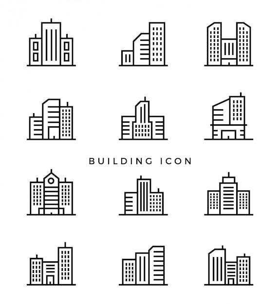 Set building line icon Premium Vector