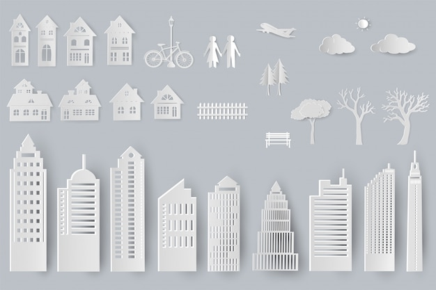 Set of buildings, houses, trees isolated objects for design in paper cut style Premium Vector