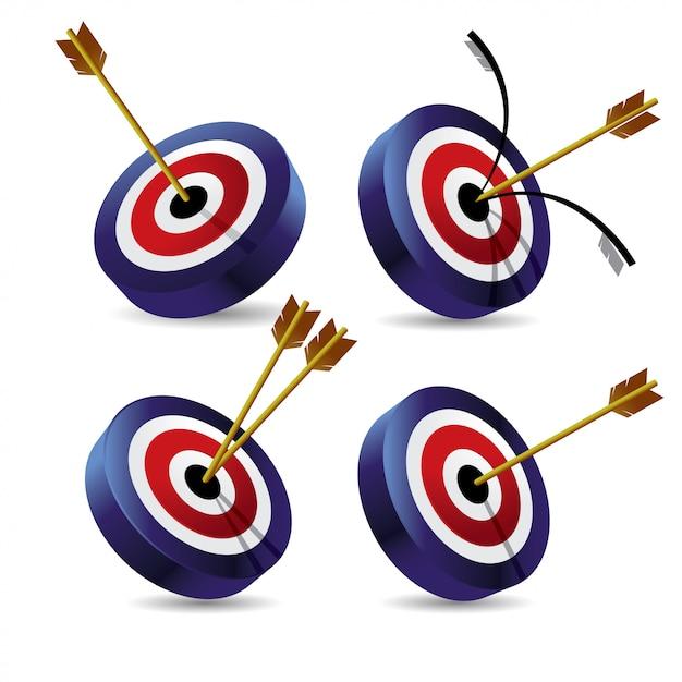Set of bullseye 3d icon vector illustration Premium Vector