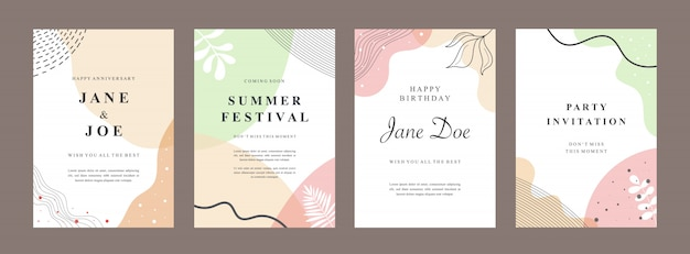 Set bundle of abstract creative universal cover templates. Premium Vector