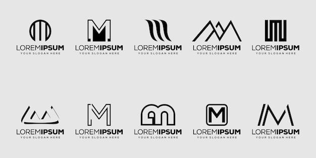 Set bundle initial letter m logo design Premium Vector