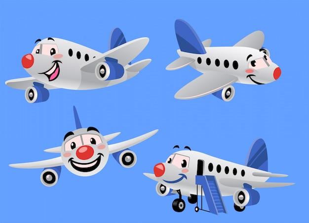 漫画飛行機のセットバンドル Premiumベクター