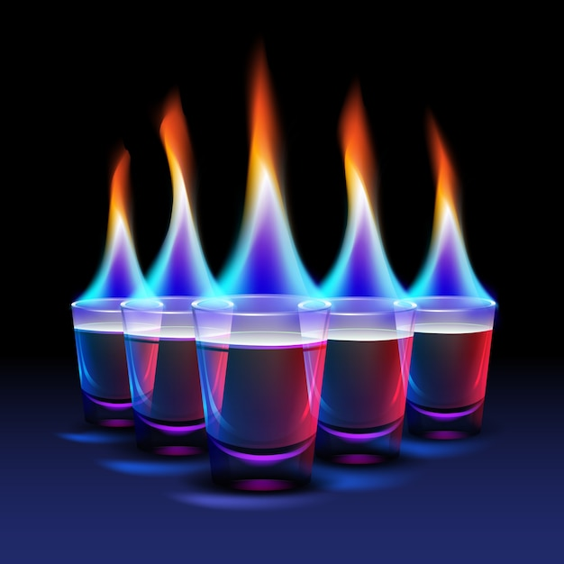Set of burning cocktail shots with colored fire and blue, red backlight isolated on black background Free Vector