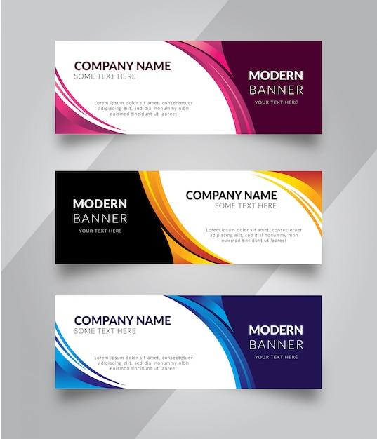 Set of business banner Premium Vector