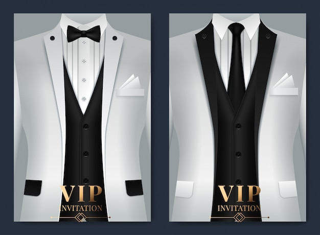 Set of business card templates with suit and tuxedo and place for text for you Premium Vector