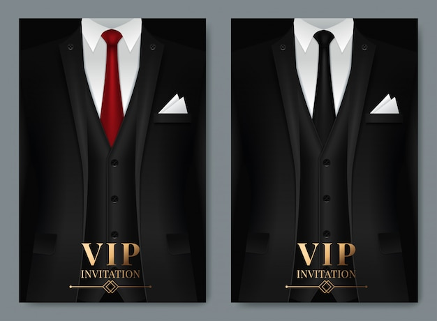 Of set of business card templates with suit and tuxedo Premium Vector