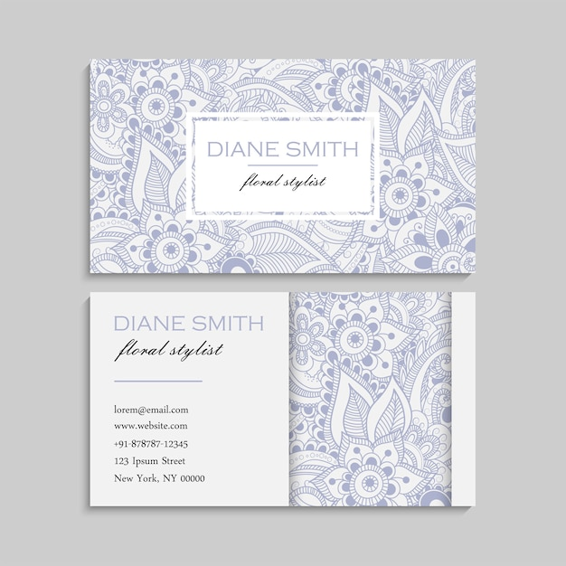 Set of business card with zentangle hand drawn flowers. template Free Vector