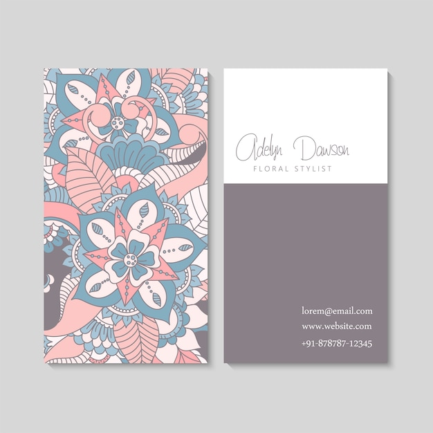 Set of business card with zentangle hand drawn flowers. Free Vector