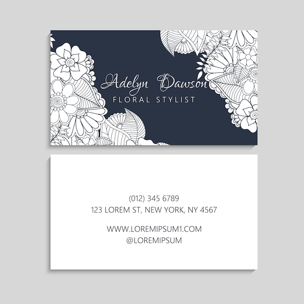 Set of business card with zentangle hand drawn flowers Free Vector