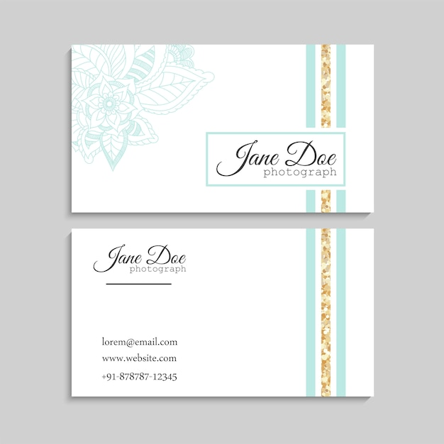 Set of business card with zentangle hand drawn flowers Premium Vector