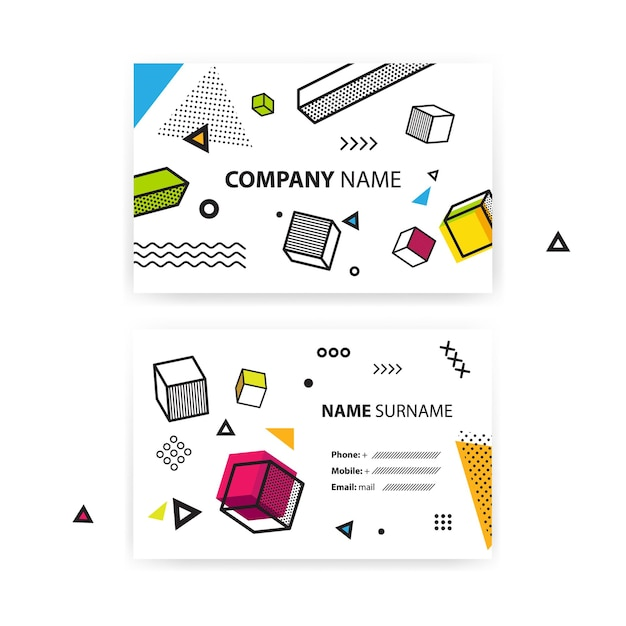 Set of business cards. pop art geometric background with colorful graphic elements. Premium Vector