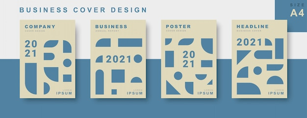 Set of business cover design with geometric shape Premium Vector