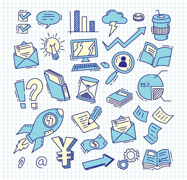Set of business doodle Premium Vector