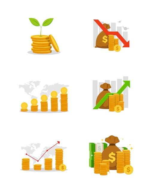 Set of business financial chart Premium Vector