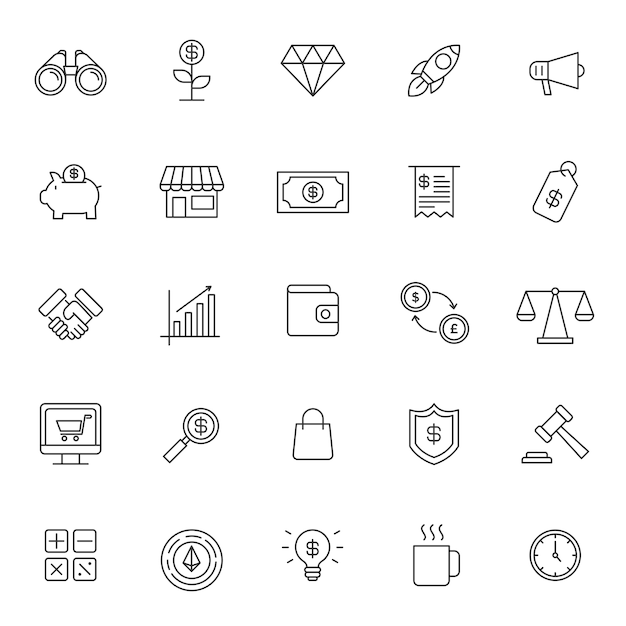 Set of business financial icon Premium Vector