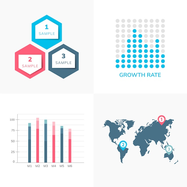 Set of business infograph vectors Free Vector