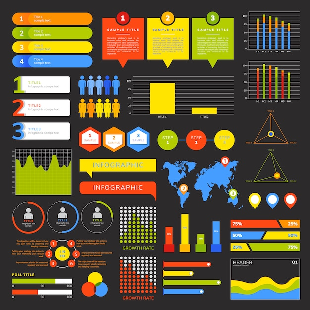 Set of business infograph vectors Free Vector