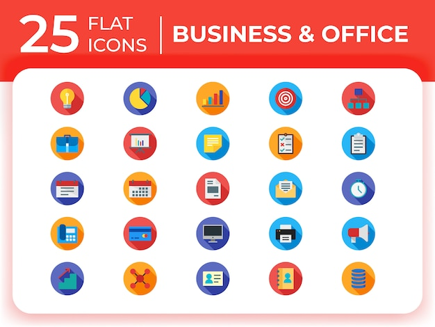 Set of business modern flat icons . Premium Vector