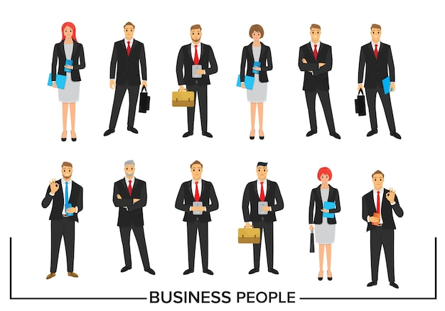 Set business people character design Premium Vector