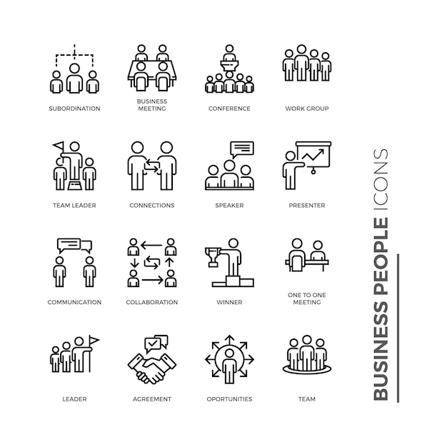 Set of business people icon, outline icon Premium Vector