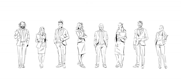 Set of business people illustrations Premium Vector