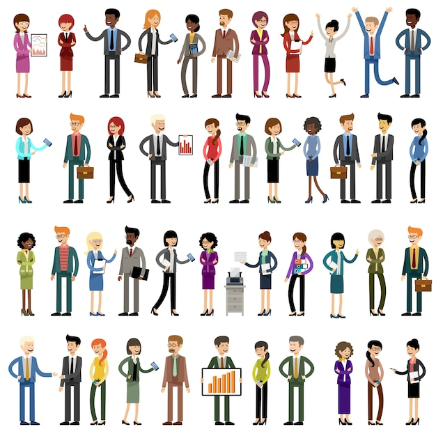Set of business people, office workers Premium Vector