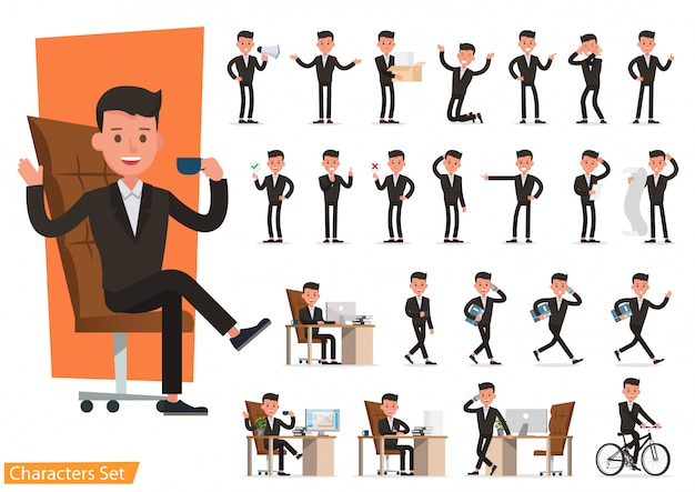 Set of business people wearing brown suit. Premium Vector