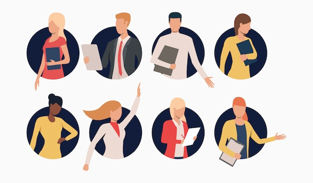 Set of business people with clipboards Free Vector
