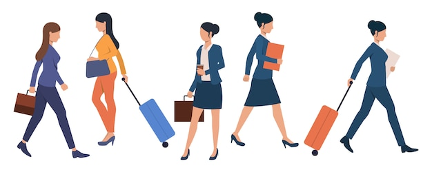 Set of business people with luggage at airport terminal Free Vector