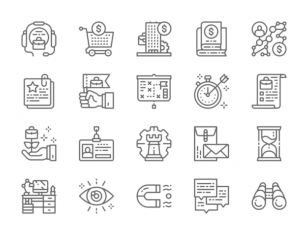 Set of business strategy line icons Premium Vector