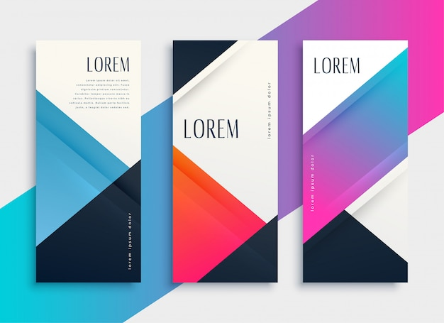 Set of business style geometric banner template Free Vector