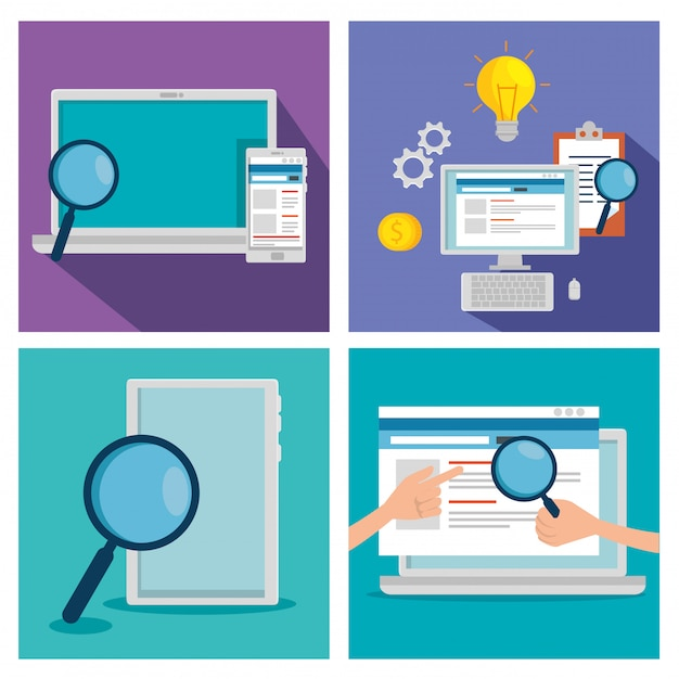 Set business technology with document information Free Vector