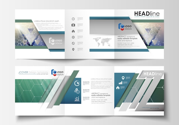 Set of business templates for tri fold brochures Premium Vector
