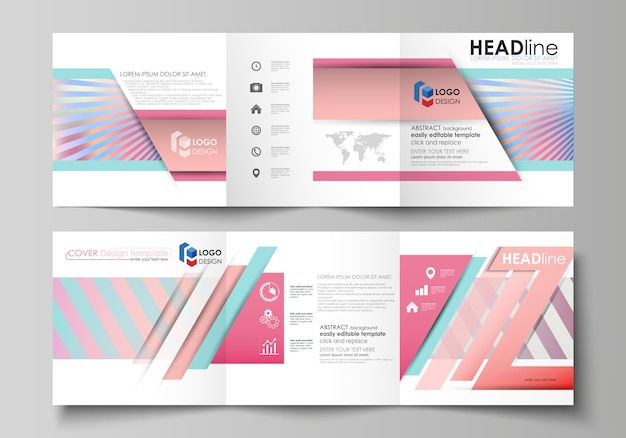 Set of business templates for tri fold square brochures. Premium Vector