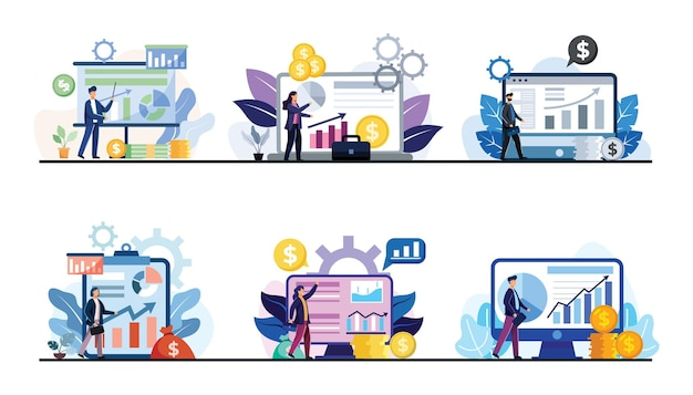 Set of business and transactions with charts showing operating results on computer monitors and screens. business concept flat design illustration Free Vector