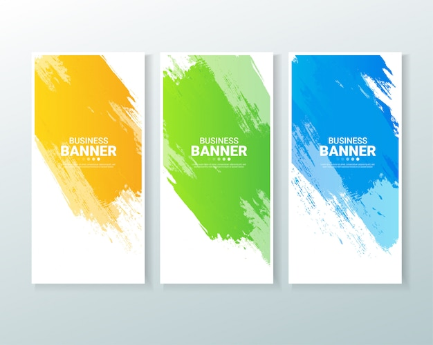 Set of business vertical banner background with watercolors splash. Premium Vector