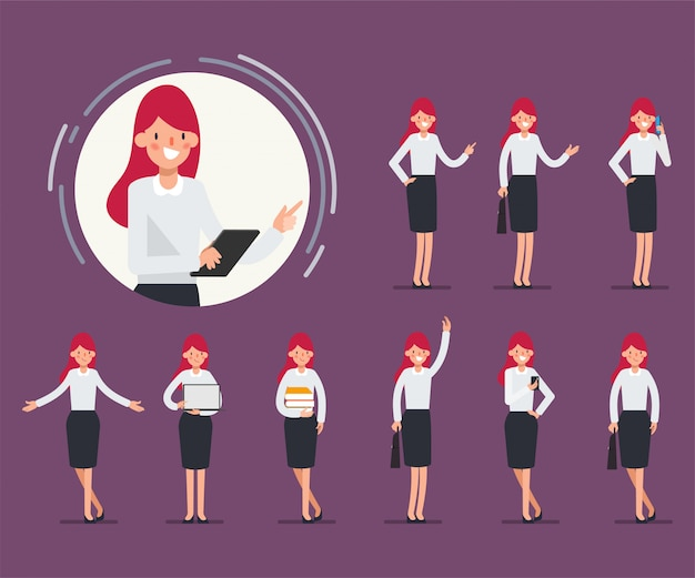 Set of business woman character for animation scene. Premium Vector