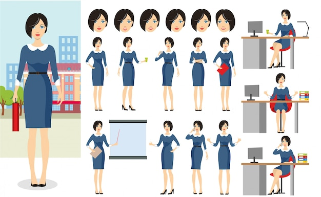 Set of business woman character. Premium Vector