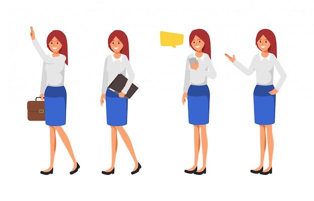 Set of business woman pose. Premium Vector