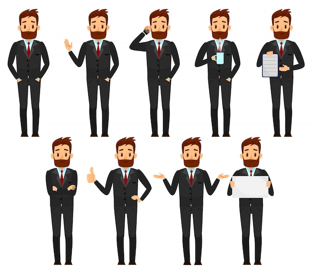 Set of businessman character design Premium Vector
