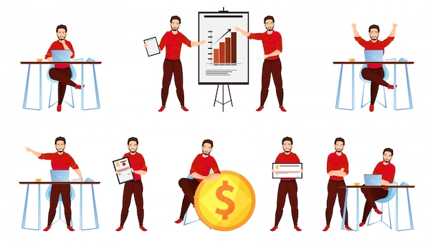 Set of businessman character working in different work pose. Premium Vector