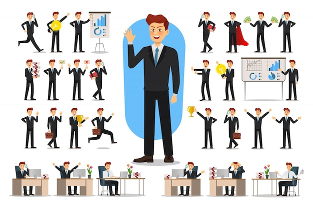Set of businessman character . Premium Vector