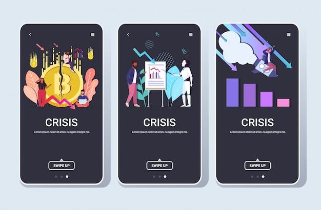 Набор бизнесменов, разочарованных финансовым кризисом крах криптовалюты сбой запуска концепции искусственного интеллекта коллекция полнометражный телефон горизонтальное мобильное приложение Premium векторы