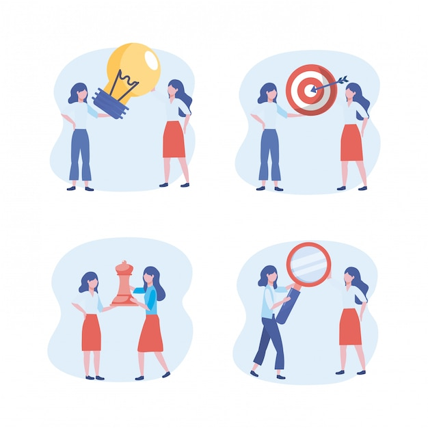 Set of businesswomen with bulb idea and target with queen chess and magnifying glass Free Vector