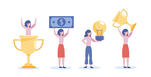 Set of businesswomen with cup prize and bill with bulb idea Free Vector