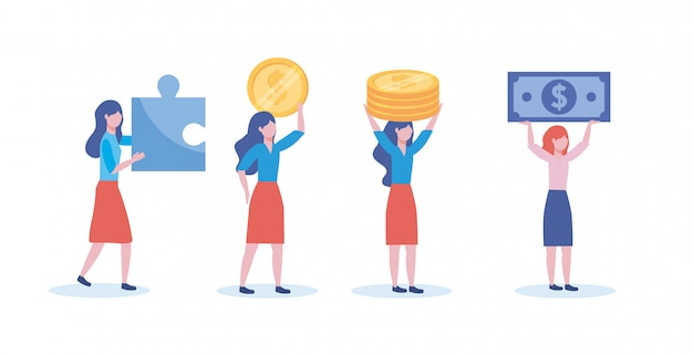 Set of businesswomen with puzzle and coins with bills Free Vector
